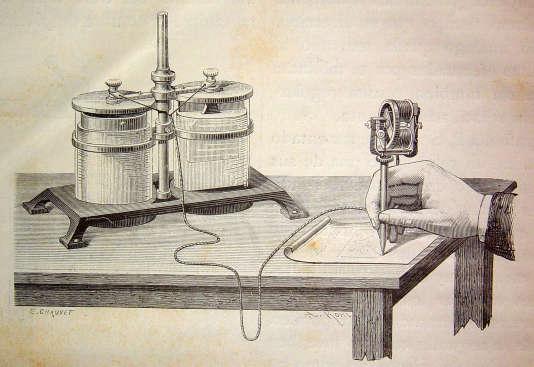 La plume électrique de Thomas Edison, inventeur et scientifique américain, pionnier de l'électricité (1878).