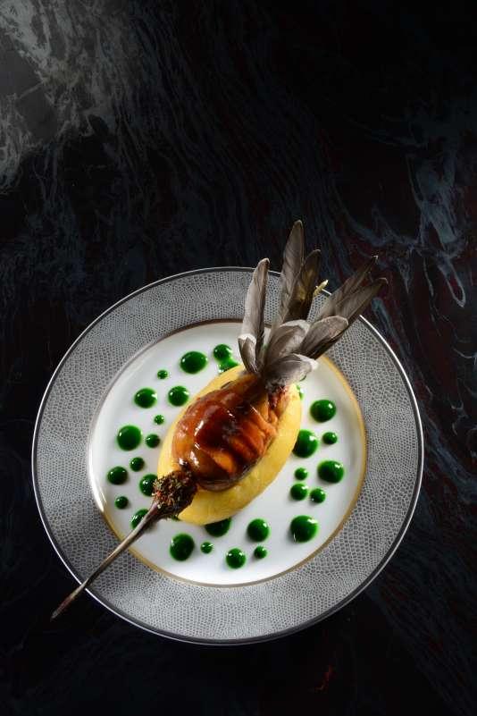 Bécassine des marais cuite à l'étouffée, « coqueline » de Celtianes au persil plat.