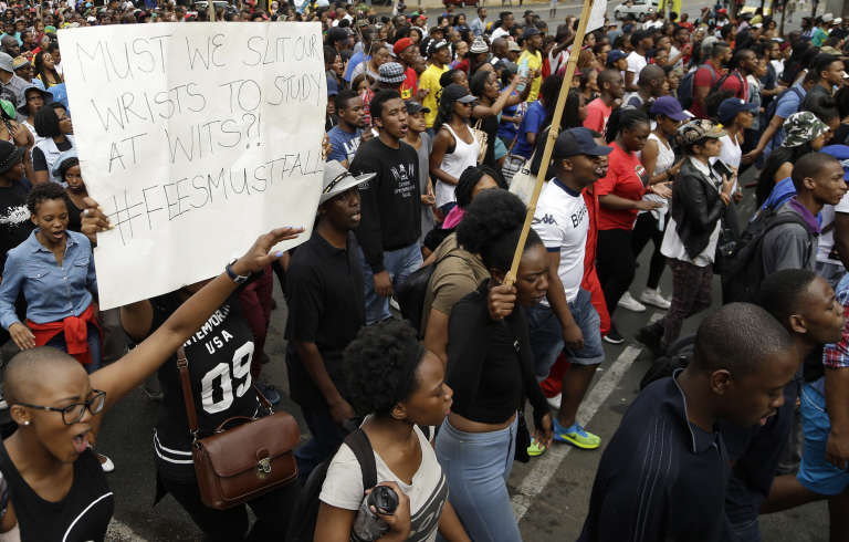 Manifestation étudiante à l'université du Witwatersrand (Johannesbourg), le 21octobre.