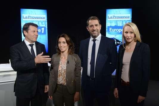 Les candidats LR, EELV-FdG, PS et FN à la présidence de la région Paca.