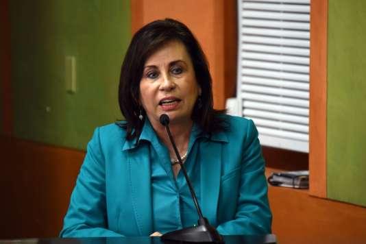 La candidate et ancienne première dame Sandra Torres pour la présidentielle guatémaltèque du 25 octobre 2015.