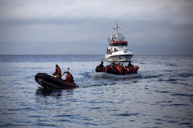 Patrouille de Frontex au large de Lesbos, le 21 octobre 2015.
