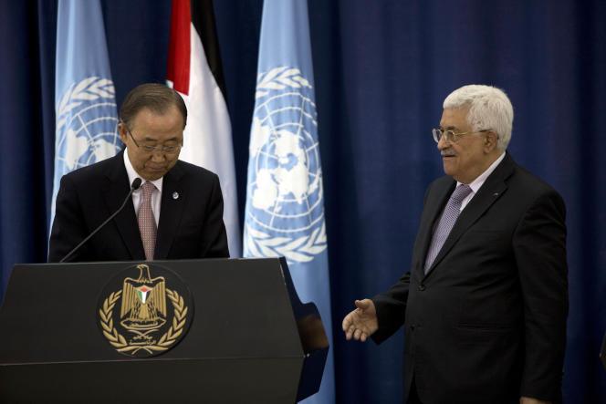 Le secrétaire général de l'ONU, Ban Ki-moon, a rencontré le président de l'Autorité palestinienne, Mahmoud Abbas, le 21 octobre.