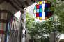 """Daniel Buren, """"Des Oculi aux Tondi, 25 travaux in situ et situés pour les 25 ans de Galleria Continua"""", verre, plexiglas colorés, filtres colorés autoadhésifs, métal, miroir, vinyle blanc."""