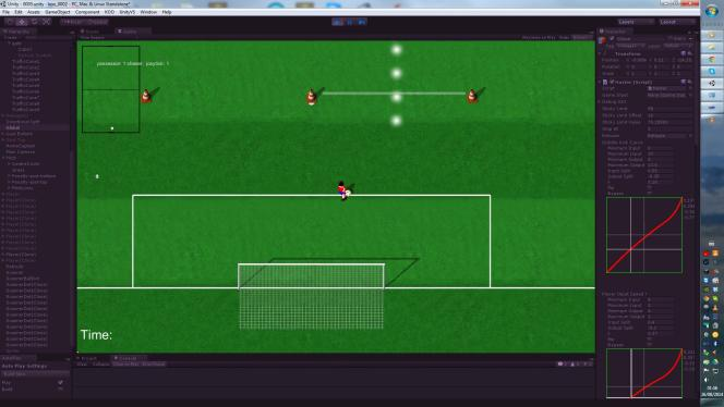 Capture d'écran du premier prototype de Kick Off Revival, en 2014, sur PS Vita, dans son logiciel de développement. La version finale sera en 3D.