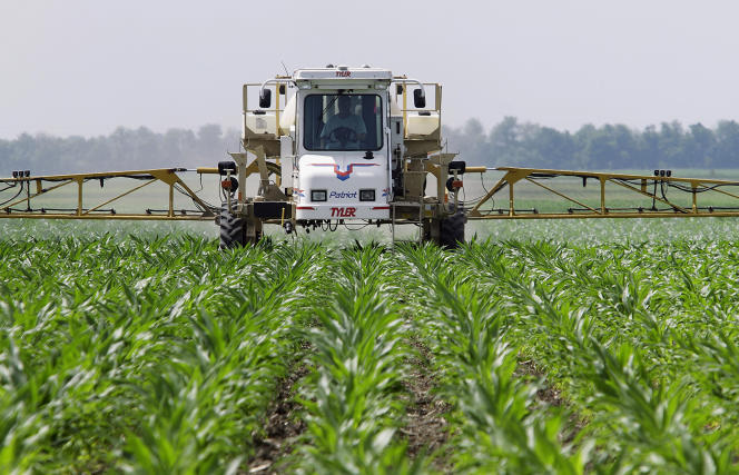 Epandage de Roundup sur un champ de maïs, dans l'Illinois, en juin 2010.