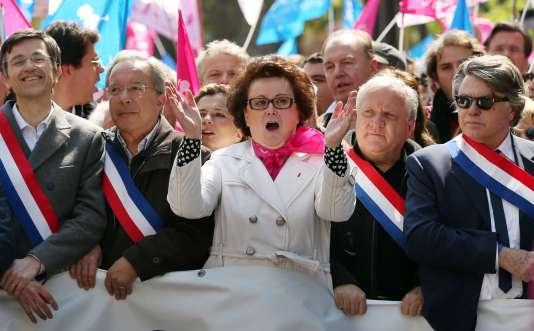 Christine Boutin, lors d'une manifestation organisée par La Manif pour tous en2013.