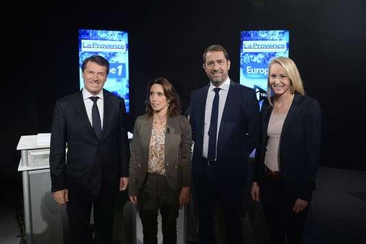 Christian Estrosi, Sophie Camard, Christophe Castaner et Marion Marechal-Le Pen, candidats aux élections régionales en PACA, à Marseille avant leur débat télévisé du 21 octobre 2015.