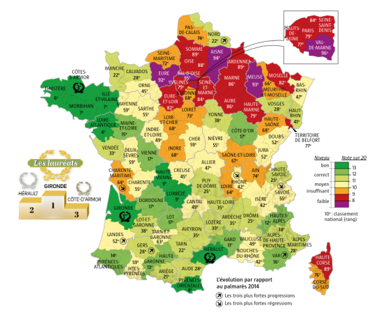 Carte de la France verte réalisée à partir du Palmarès de l'écologie organisé par l'hebdomadaire la Vie
