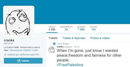 Cracka se présente sur Twitter comme un jeune Américain du sud provocateur, anti-gouvernement et pro-palestinien.