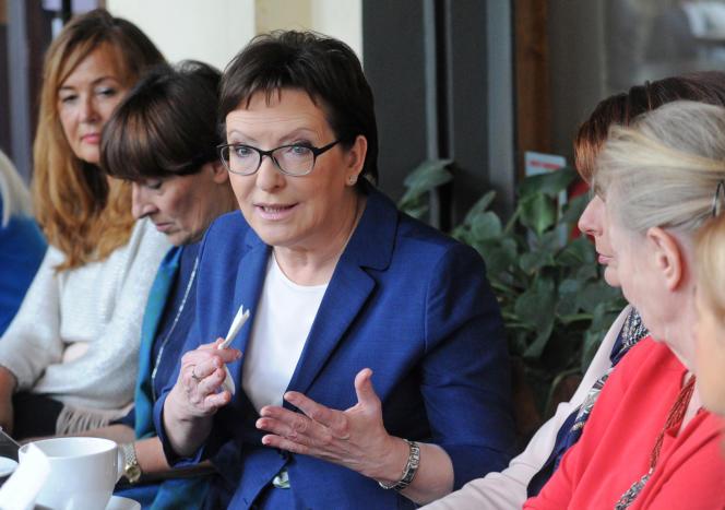 La première ministre polonaise sortante, Ewa Kopacz, lors d'un meeting à Varsovie, vendredi 23 octobre. (AP Photo/Alik Keplicz)