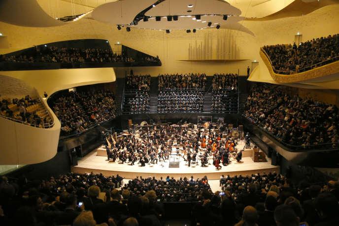 La grande salle de la Philharmonie de Paris lors du concert d'inauguration, le 14 janvier 2015.