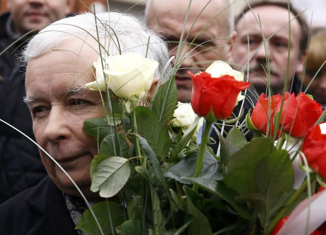 Jaroslaw Kaczynski à Brzeziny près de Lodz en Pologne le 14 octobre 2015.