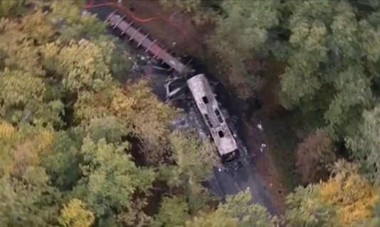 Vue aérienne des lieux de l'accident.
