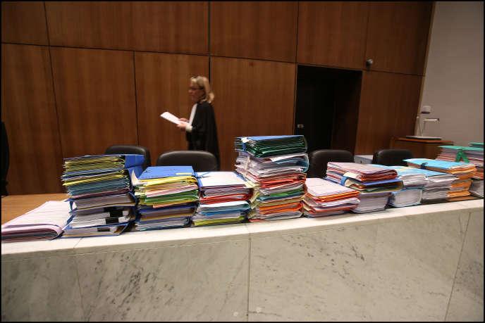 A l'ouverture du procès des laboratoires Servier et de son PDG Jacques Servier, au tribunal de Nanterre, en mai 2013.