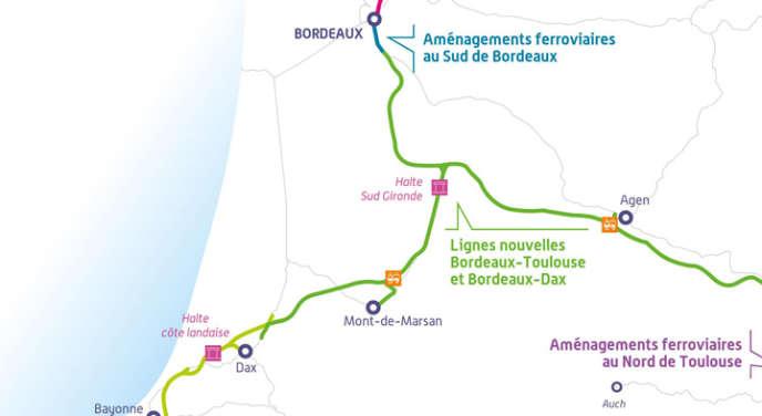 Tracés du programme du grand projet ferroviaire du Sud-Ouest (GPSO).