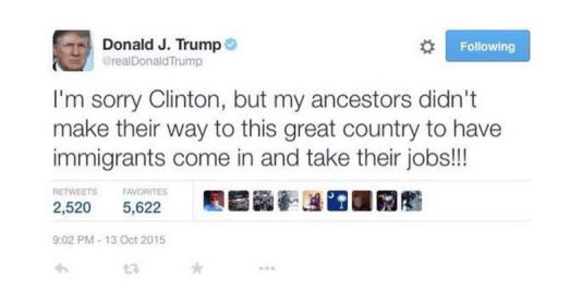 Capture d'écran d'un faux tweet de Donald Trump. « Je suis désolé, Clinton, mais mes ancêtres n'ont pas fait tout ce chemin vers notre grand pays pour voir les immigrés s'installer et prendre leur travail !!! »