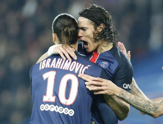 Edinson Cavani et Zlatan Ibrahimovic, buteurs contre Saint-Etienne, le 25 octobre à Paris.