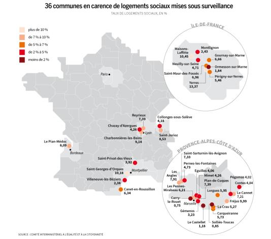36 communes en carence de logements sociaux mises sous surveillance.