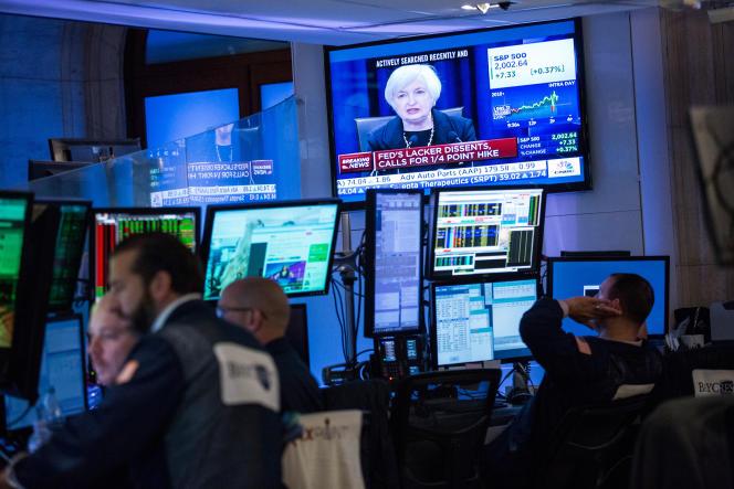 Au New York Stock Exchange, le 17 septembre, lors d'une conférence de presse de Janet Yellen