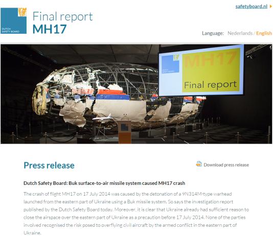 Ecran d'accueil du site du Bureau néerlandais pour la sécurité (OVV), présentant le rapport final d'expertise du crash du vol MH17 dans l'est de l'Ukraine, le 17 juillet 2014.