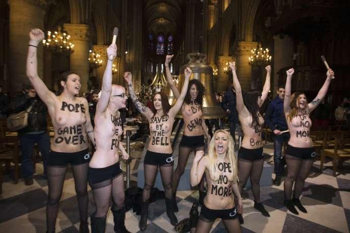 Le 21 février 2013, les Femen avaient célébré à leur manière le renoncement du pape Benoît XVI.