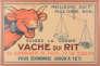 """Carton publicitaire lithographié à suspendre """"Exigez la Vache qui rit"""", proposé à la vente aux enchères """"Art de la publicité"""", le 21 novembre 2015, à Chartres."""