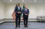 Le secrétaire d'Etat américain, John Kerry, et le ministre iranien des affaires étrangères, Mohammad Javad Zarif, au siège de l'ONU en septembre.
