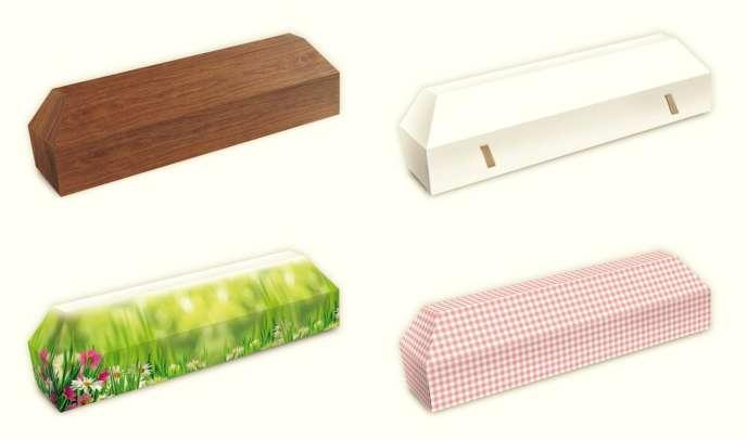 Imitation bois, blanc pour pouvoir écrire dessus, ou illustré : le cercueil en carton existe en différentes versions.