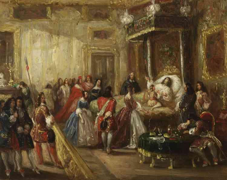 Le tableau de Thomas Jones Henry Barker, réalisé vers 1835-1840, met en scène les ultimes recommandations de Louis XIV, le 26 août 1715, au Dauphin, son arrière petit-fils, qui deviendra Louis XV, après son dernier souffle rendu : « J'ai trop aimé la guerre, ne m'imitez pas en cela ; non plus que dans les trop grandes dépenses que j'ay faites. »