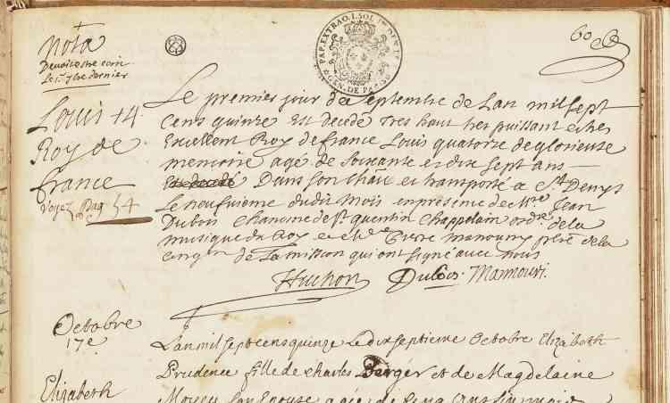Dans la confusion, l'acte de décès du roi fut consigné au registre de la paroisse, un mois plus tard.