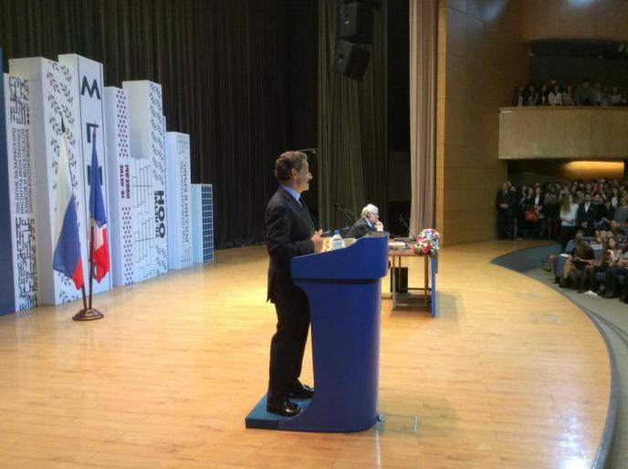 Nicolas Sarkozy devant des étudiants, à Moscou, le 29 octobre.