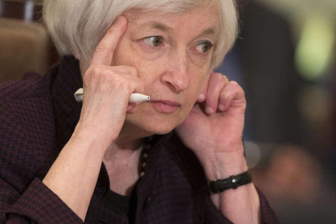 La présidente de la Réserve fédérale américaine, Janet Yellen, lors du conseil des gouverneurs américains, le 30 octobre. La Fed n'a toujours pas décidé de remonter ses taux directeurs, actuellement de 0,25 %