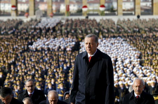 Le président Recep Tayyip Erdogan lors des cérémonies marquant le 92e anniversaire de la fondation de la République turque, le 29 octobre, à Ankara.