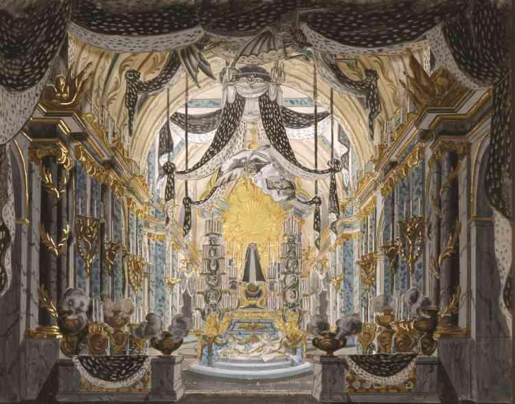 L'une des ravissantes maquettes exposées. Celle-ci, datant de 1760, est un projet de pompe funèbre de Pietro Bonifacio Algieri, composé de cinq plans en carton, peints à la gouache avec des rehauts d'or.
