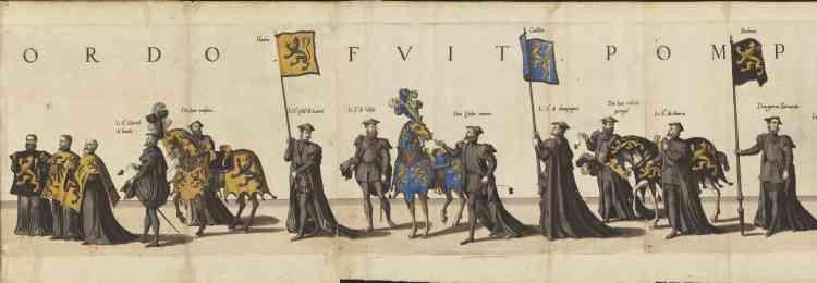Document inédit, l'édition originale des trente-trois planches gravées sur cuivre de Jean et Lucas Duetecum (1510-1570), d'après les dessins de Hieronymus Cock. Exemplaire colorié, dans son maroquin de cuir rouge.