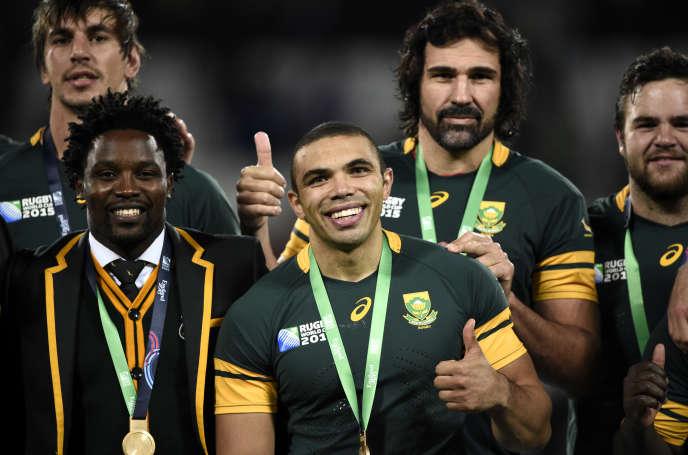 L'équipe sud-africaine, troisième de la Coupe du monde le 30 octobre au Stade olympique.