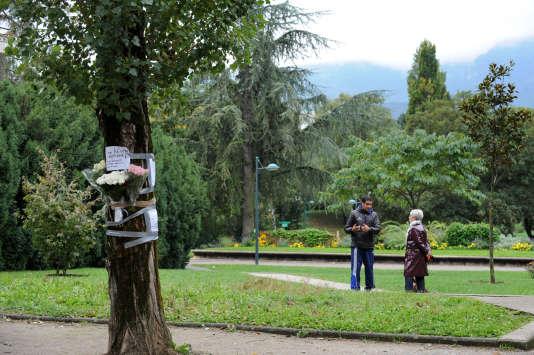 Des fleurs sur le lieu de la mort de Kevin et Sofiane dans le parc de la Villeneuve à Échirolles, le 30 septembre 2012.