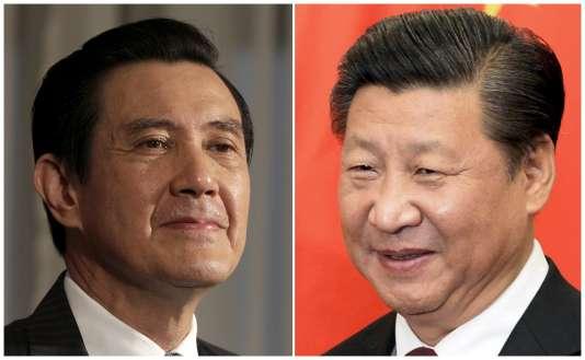 La décision de mettre en place une ligne entre Pékin et Taipei a été décidée à Singapour lors d'une rencontre historique entre le président chinois, Xi Jinping (à droite), et son homologue taïwanais, Ma Ying-jeou (à gauche).