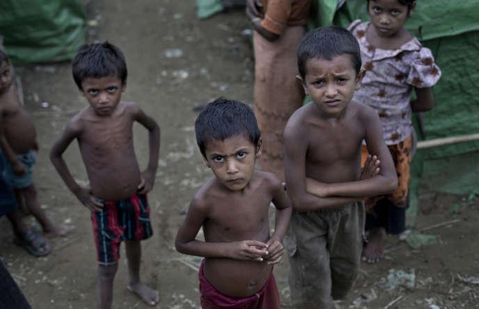 Le camp de réfugiés rohingyas de Dar Paing, en Birmanie, en 2014.