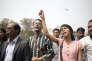 Shammi Hoque lors d'une manifestation, en mars, à Dacca, après l'assassinat du blogueur Avijit Roy.