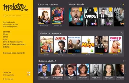 La home page du service Molotov.tv