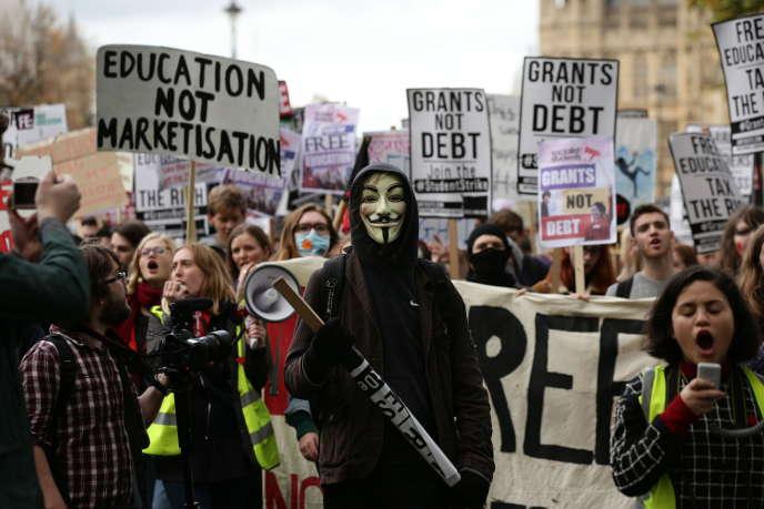 Manifestation étudiante à Londres le mercredi 4 novembre.