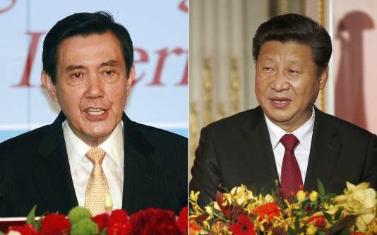 Les présidents taïwanais et chinois  Ma Ying-jeou (à gauche) et Xi Jinping.