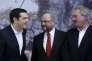 Alexis Tsipras en compagnie de Martin Shulz (au centre) et de Jean Asselborn, à Athènes le 4novembre.