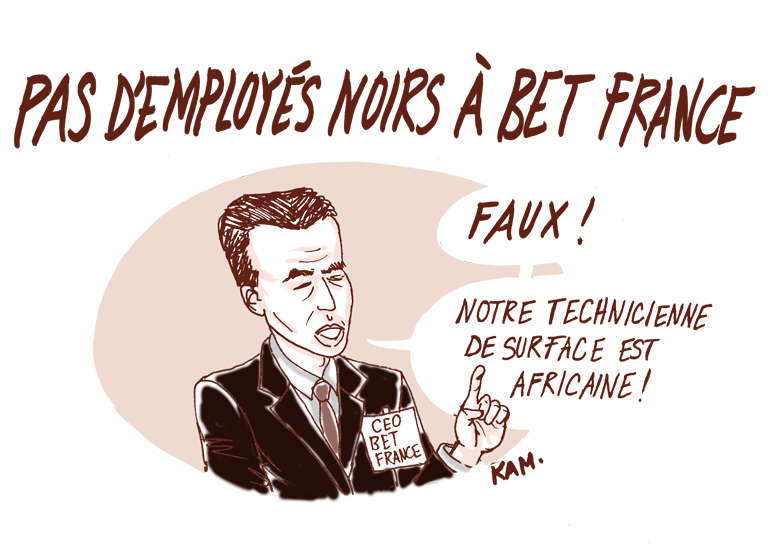 Pas d'employés noirs à BET France, selon Kam.
