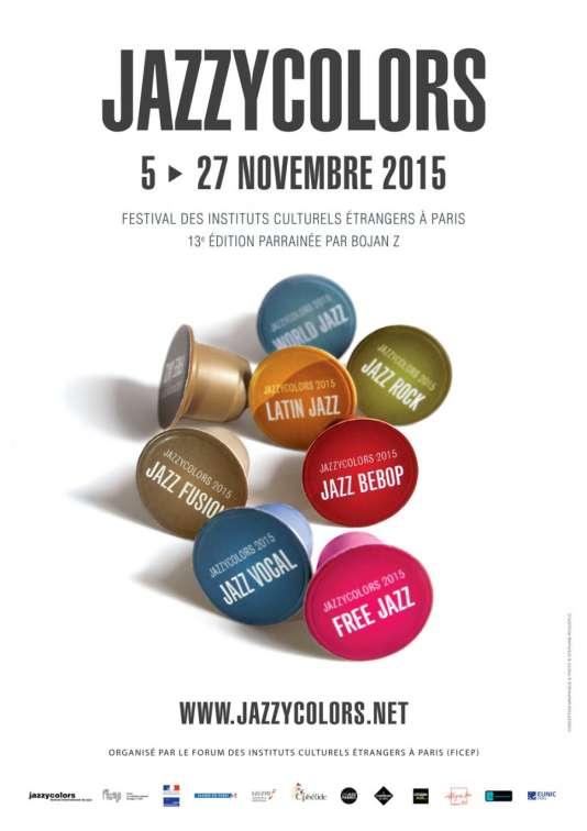 L'affiche de la 13e édition du festival Jazzycolors, conception et réalisation Stéphane Roqueplo.
