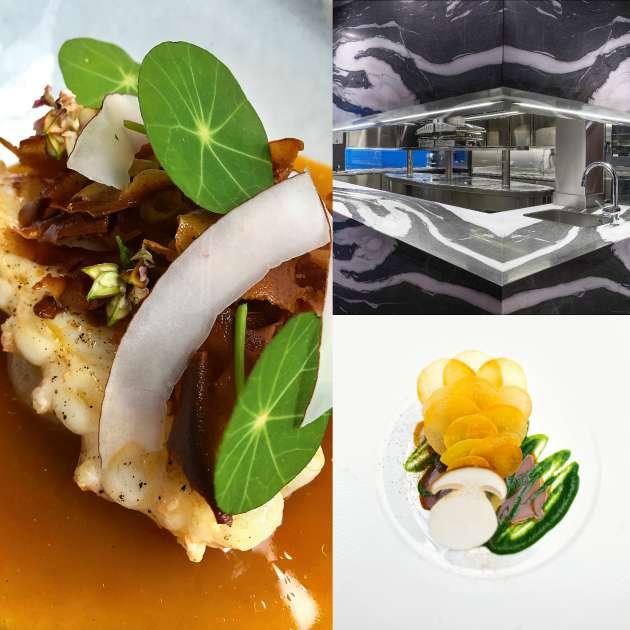 De gauche à droite et de haut en bas : les langoustines juste raidies, feuilles de blé noir ; la cuisine ; le cabillaud de Noirmoutiers, cèpes au four, suc de ciboulail.