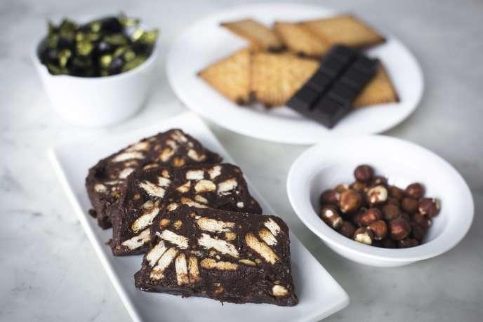 Gâteau au Michoko, noisettes torréfiées, chocolat et Petit-Beurre LU.