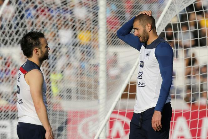 Mathieu Valbuena et Karim Benzema, durant un entraînement au Brésil, en juin2014.
